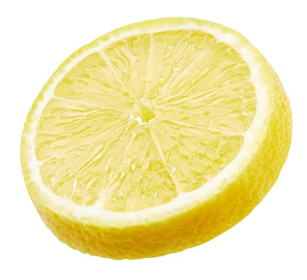 Citroenplak geïsoleerd op een witte achtergrond. citroen fruit uitknippad. kwaliteit macro foto