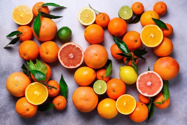 Citrus vruchten. geassorteerde verse citrusvruchten met bladeren. sinaasappel, grapefruit, citroen, limoen, mandarijn. bovenaanzicht