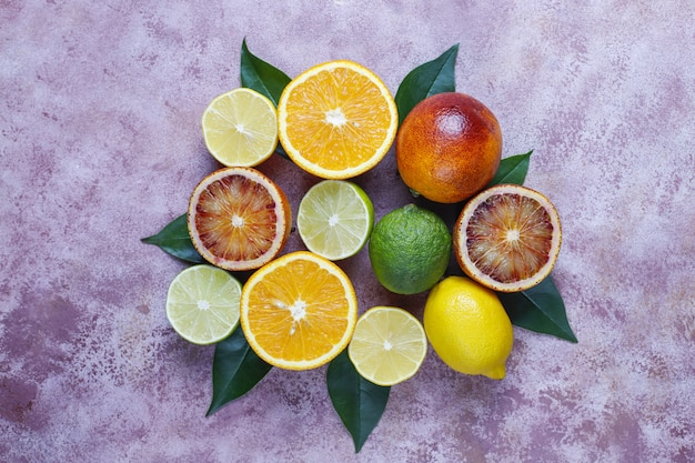 Citrusvruchten, bovenaanzicht