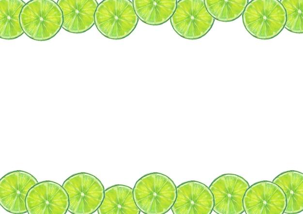 Citrusvruchten frame met aquarel handgetekende limoenschijfjes
