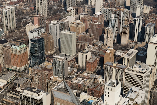Cityscape luchtmening van de stads van chicago woonwijk of district van de binnenstad.