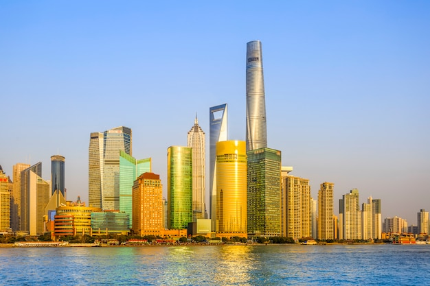 Cityscape shanghai centrum meren blauw aziatisch