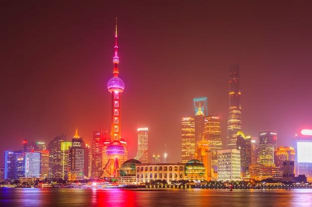 Cityscape tentoonstelling shanghai nacht brug vakantie