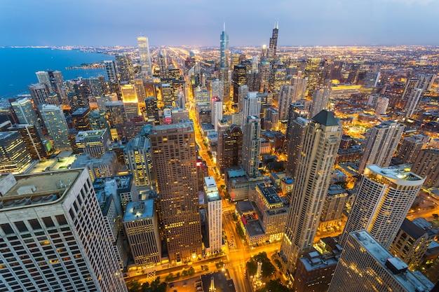 Cityscape van chicago bij kust