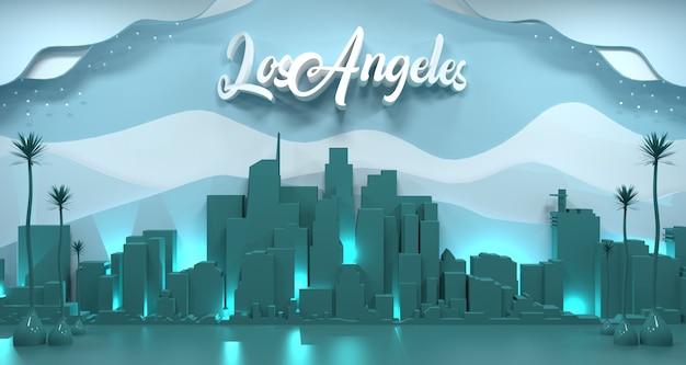 Cityscape van los angeles met formulering, 3d-rendering