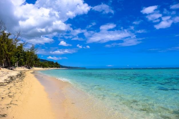 Clearwaterstrand dichtbij de kust met bomen en wolken in een blauwe hemel