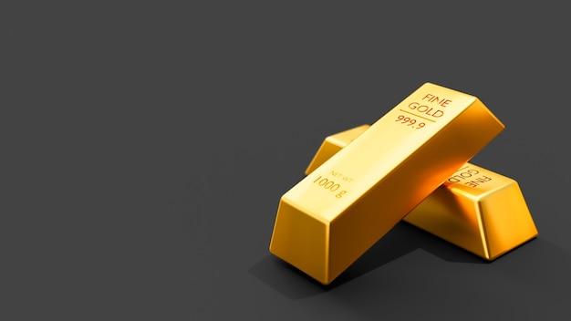 Close-up 3d-animatieweergave van fijne goudstaven op zwarte achtergrond.