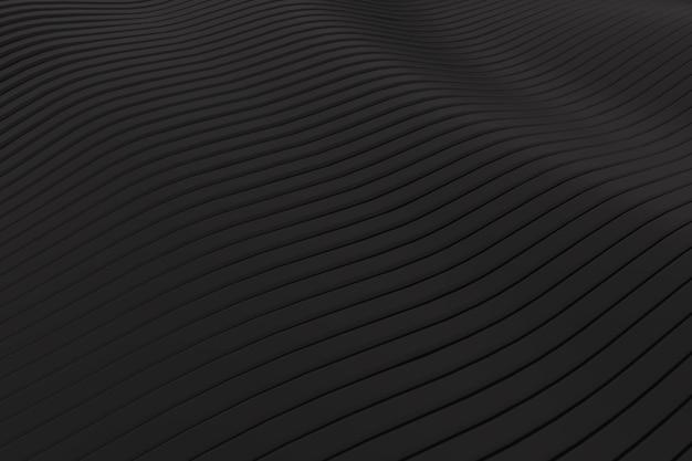 Close-up abstract zwart zilver gerookt metalen streep snijden golvende achtergrond Premium Foto