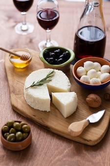 Close-up assortiment van gastronomische snacks