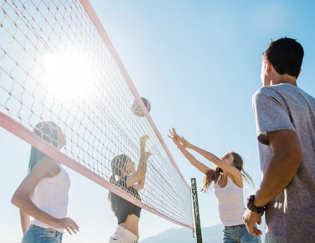 Close-up beach volleybal scene