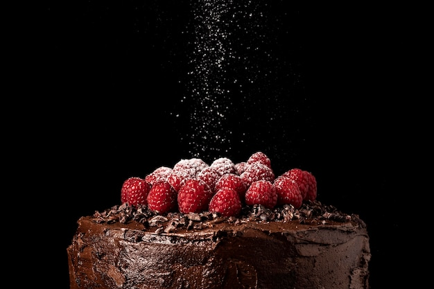 Close-up beeld van chocoladetaart concept