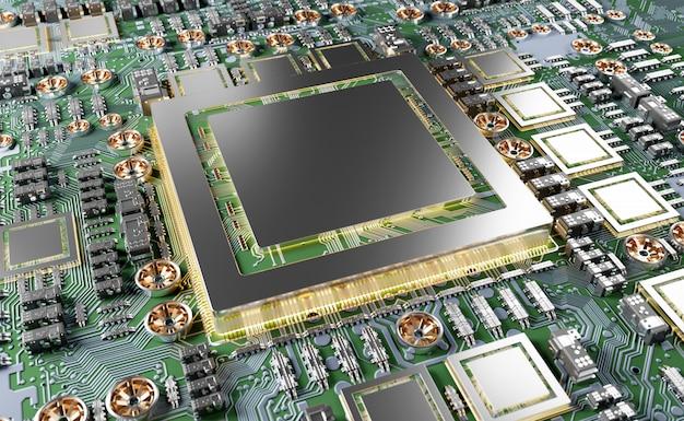 Close-up beeld van een moderne gpu-kaart met circuit