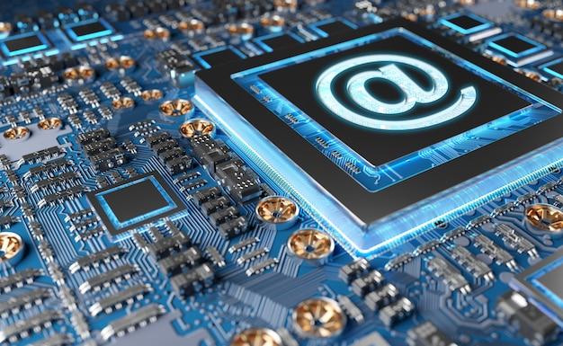Close-up beeld van een moderne gpu-kaart met e-mailpictogram