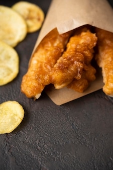 Close-up beeld van fish and chips concept