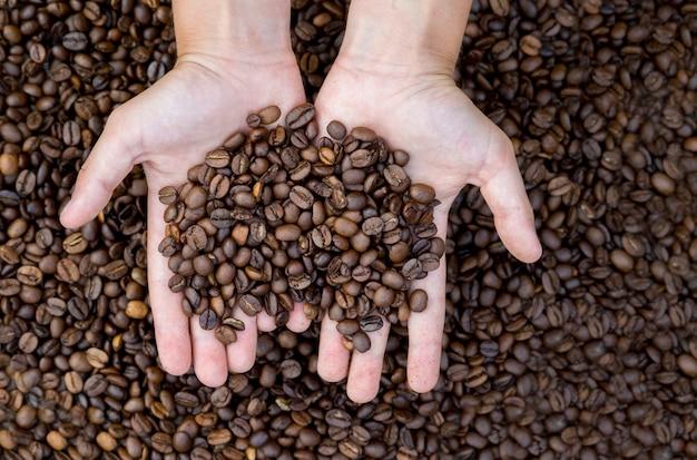 Close-up beeld van gebrande koffiebonen in man's handen.