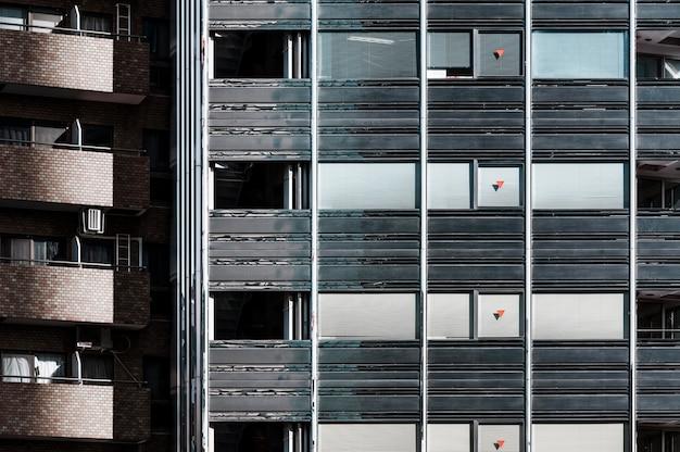Close-up bekijken moderne wolkenkrabbers kantoorgebouwen