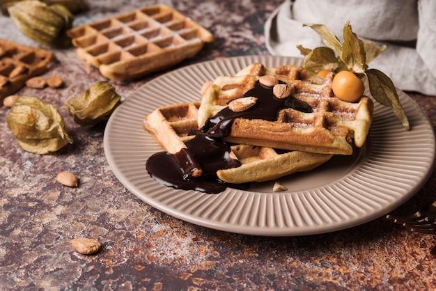 Close-up belgische wafel met topping