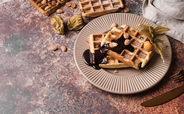 Close-up belgische wafel met topping