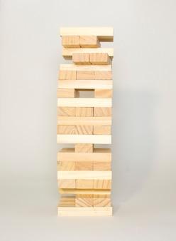 Close-up blokken houten spel jenga