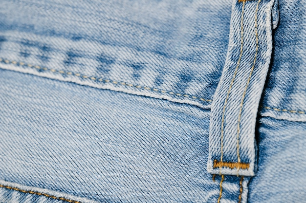 Close-up blue jeans riem loop