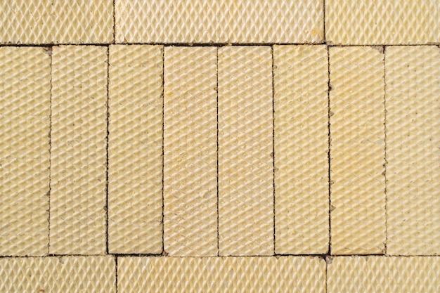 Close-up bovenaanzicht van groep wafels. wafer textuur voor achtergrond. stock foto.