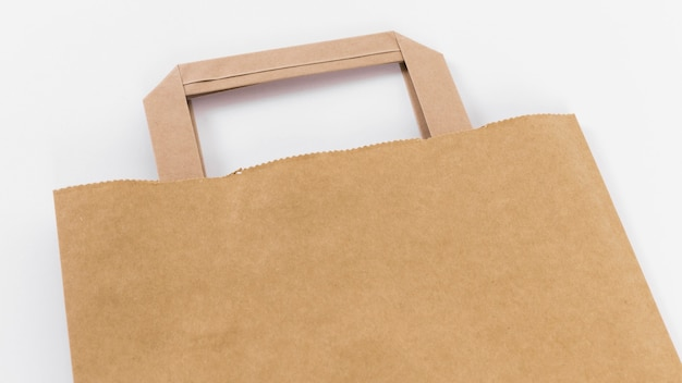 Close-up bruine papieren boodschappentas