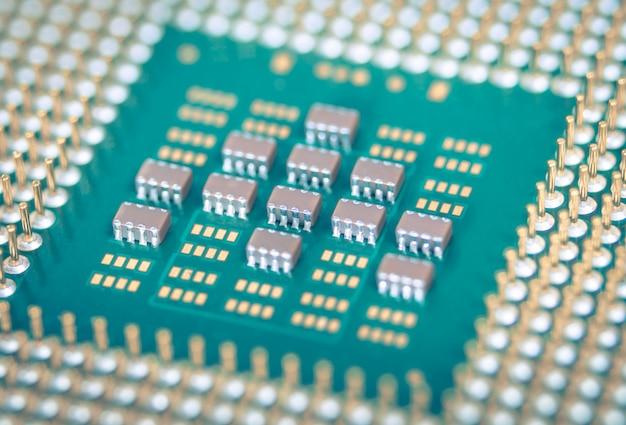 Close-up cpu of centrale verwerkingseenheid van moederbord, macro-opname microprocessoreenheid van computerhardwaresysteem