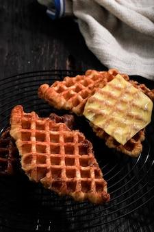 Close up croissant wafel (croffle)