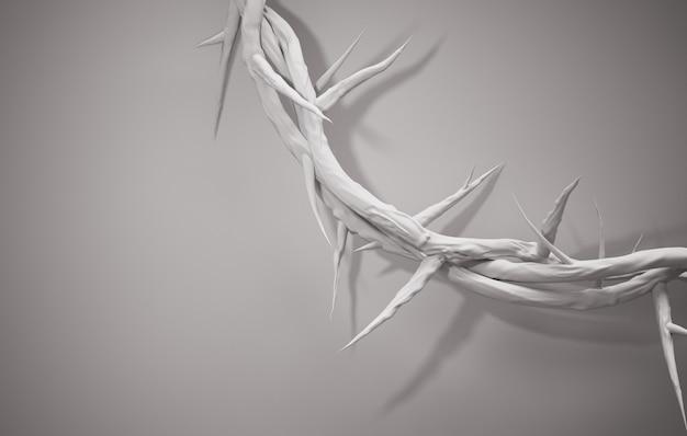Close-up crown of thorns 3d-rendering lege ruimte