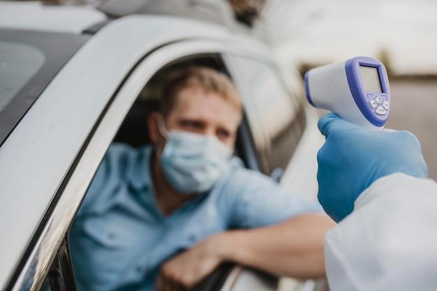 Close-up drive in coronavirus-test