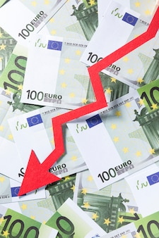 Close-up economie crisis met euro's