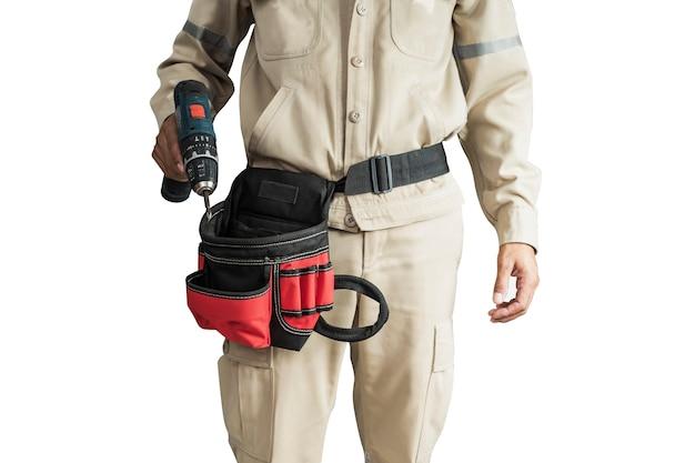 Close-up elektricien uniform met gereedschapsriem geïsoleerd op een witte achtergrond