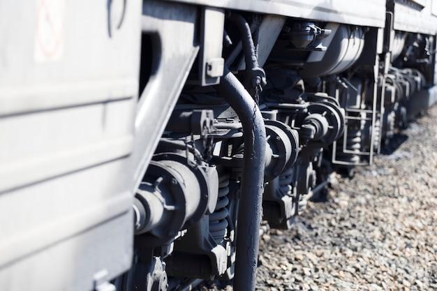 Close-up elektrische trein. onderaanzicht.