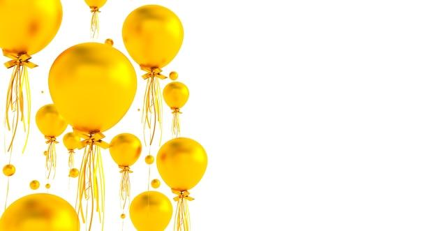 Close-up en samenvatting van 3d gouden ballonnen, 3d render, ballonnen geïsoleerd op een witte achtergrond.