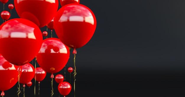 Close-up en samenvatting van 3d rode ballonnen, 3d render, rode ballonnen geïsoleerd op zwarte achtergrond.