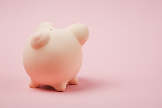 Close-up foto, achteraanzicht van roze spaarvarken geïsoleerd op pastel muur achtergrond. geld accumulatie investeringen, bank- of zakelijke dienstverlening, rijkdom concept. kopieer ruimte reclame mock-up.
