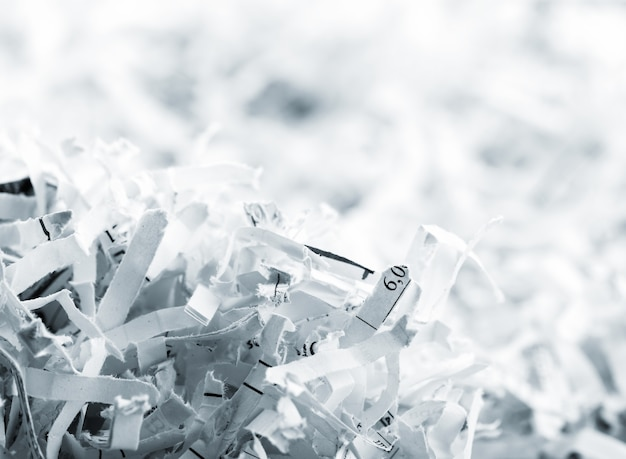 Close-up foto van grote hoop witte papiersnippers