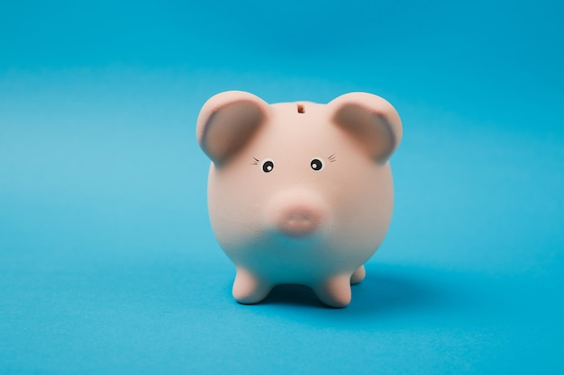 Close-up foto van roze spaarvarken geïsoleerd op een heldere blauwe muur achtergrond. geldaccumulatie, investeringen, bank- of zakelijke diensten, rijkdomconcept. kopieer ruimte reclame mock-up.