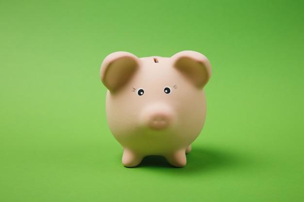 Close-up foto van roze spaarvarken geïsoleerd op heldere groene muur achtergrond. geldaccumulatie, investeringen, bank- of zakelijke diensten, rijkdomconcept. kopieer ruimte reclame mock-up.
