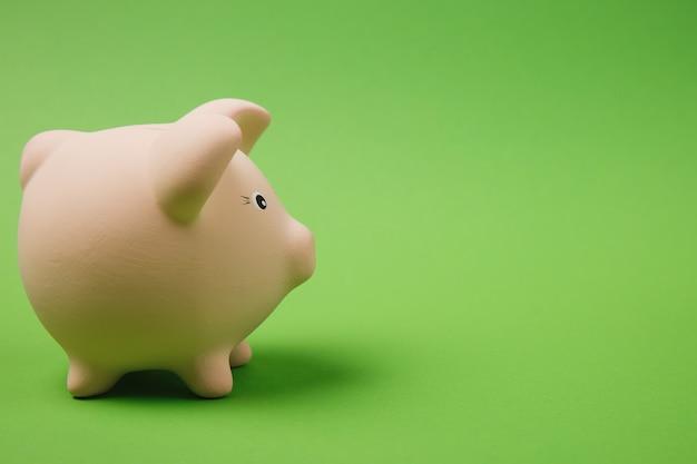 Close-up foto zijaanzicht van roze spaarvarken geïsoleerd op heldere groene muur achtergrond. geld accumulatie investeringen, bank- of zakelijke dienstverlening, rijkdom concept. kopieer ruimte reclame mock-up.