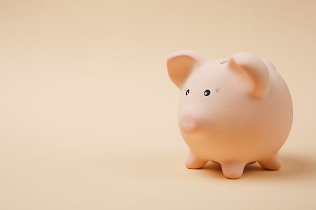 Close-up foto zijaanzicht van roze spaarvarken geïsoleerd op pastel beige muur achtergrond. geld accumulatie investeringen, bank- of zakelijke dienstverlening, rijkdom concept. kopieer ruimte reclame mock-up.