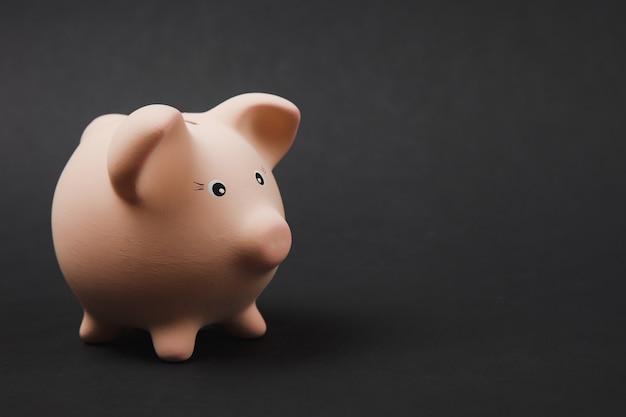 Close-up foto zijaanzicht van roze spaarvarken geïsoleerd op zwarte muur achtergrond. geldaccumulatie, investeringen, bank- of zakelijke diensten, rijkdomconcept. kopieer ruimte reclame mock-up.
