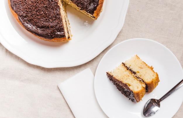 Close-up gebakken chocoladetaart