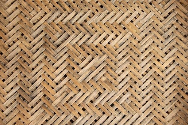 Close-up geweven bamboe patroon muur.
