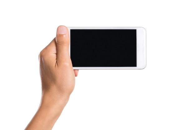 Close-up hand van man met smartphone geïsoleerd op wit