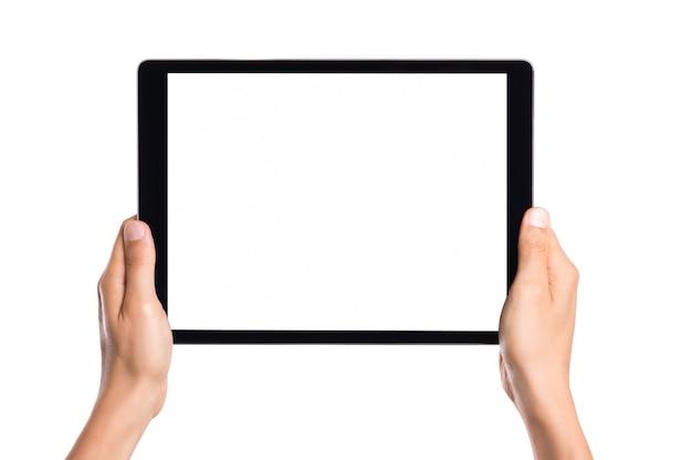 Close-up hand van man met tablet geïsoleerd op wit
