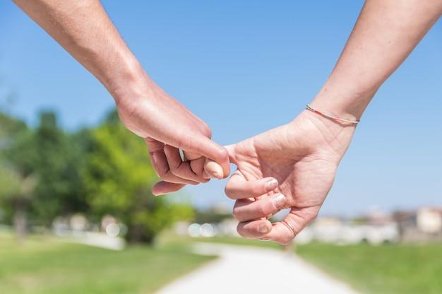 Close-up handen maken een pink voor vertrouwen, vloeken en beloven in relatie over groen natuurpark