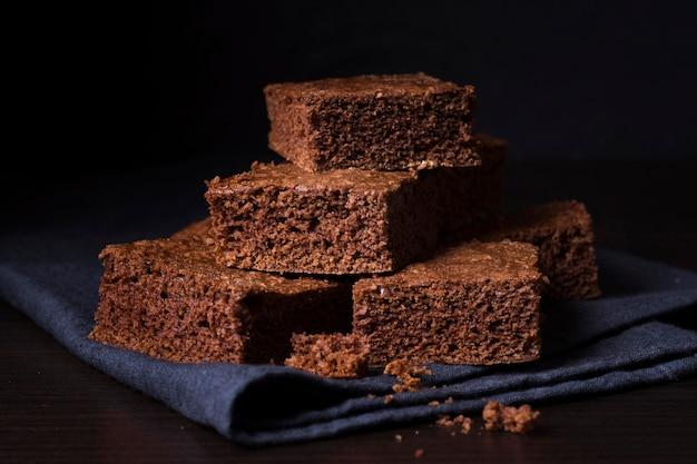 Close-up heerlijke chocolade brownies