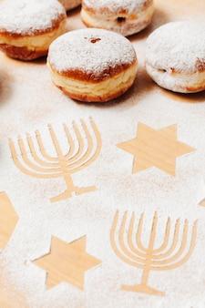 Close-up heerlijke joodse donuts