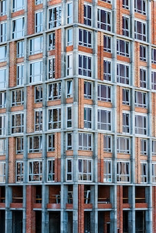 Close-up high-rise gebouw in aanbouw
